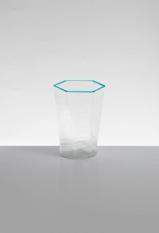 bicchiere acqua esagonale ritorto azzurro