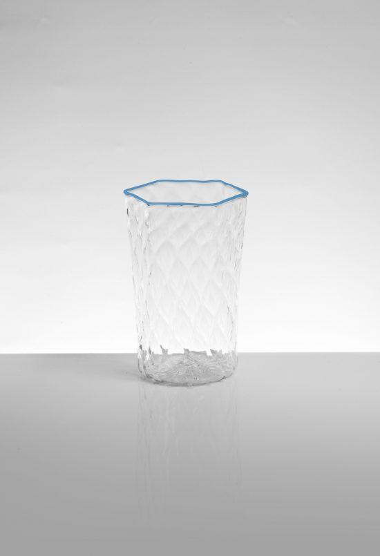 bicchiere bibita esagonale ballotton azuzrro trasparente
