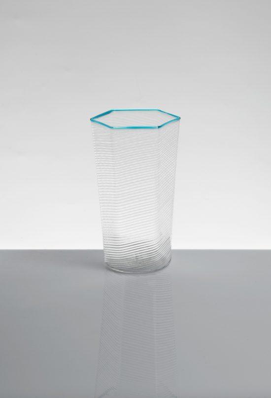 bicchiere bibita esagonale ritorto azzurro