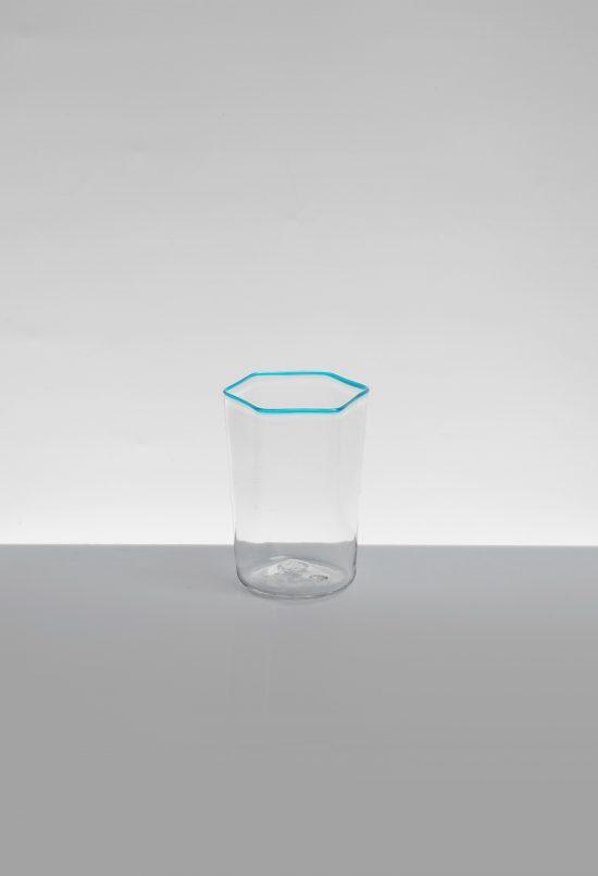 liquore esagonale liscio azzurro trasparente