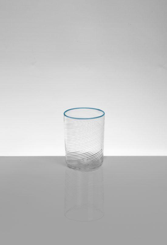 bicchiere rosolio tondo ritorto azzurro